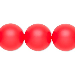 pearl, swarovski crystals, neon red, 16mm round with 1.3-1.5mm hole (5811). sold per pkg of 5.