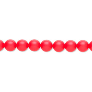 pearl, swarovski crystals, neon red, 6mm round (5810). sold per pkg of 500.