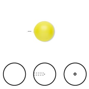 pearl, swarovski crystals, neon yellow, 10mm half-drilled round (5818). sold per pkg of 10.