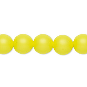 pearl, swarovski crystals, neon yellow, 10mm round with 1.3-1.5mm hole (5811). sold per pkg of 25.