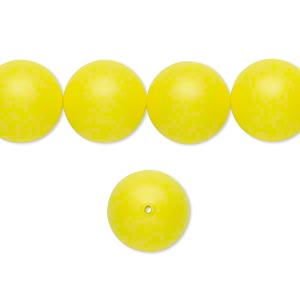 pearl, swarovski crystals, neon yellow, 12mm round (5810). sold per pkg of 100.