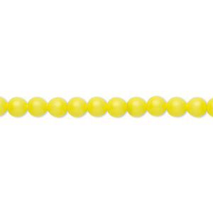 pearl, swarovski crystals, neon yellow, 4mm round (5810). sold per pkg of 100.
