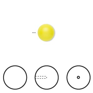 pearl, swarovski crystals, neon yellow, 8mm half-drilled round (5818). sold per pkg of 50.