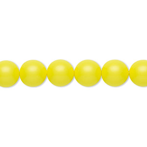 pearl, swarovski crystals, neon yellow, 8mm round (5810). sold per pkg of 50.
