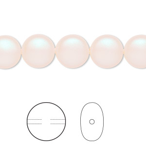 pearl, swarovski crystals, pearlescent white, 10mm coin (5860). sold per pkg of 10.