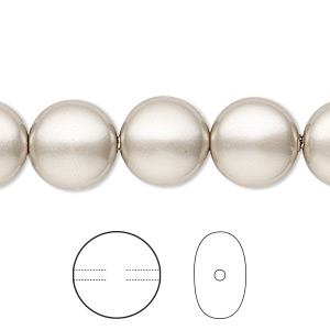 pearl, swarovski crystals, platinum, 12mm coin (5860). sold per pkg of 100.