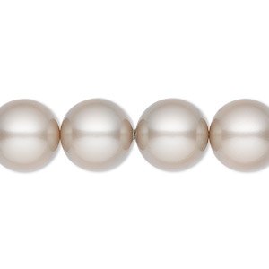 pearl, swarovski crystals, platinum, 12mm round (5810). sold per pkg of 10.