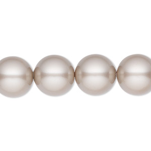 pearl, swarovski crystals, platinum, 12mm round with 1.3-1.5mm hole (5811). sold per pkg of 10.