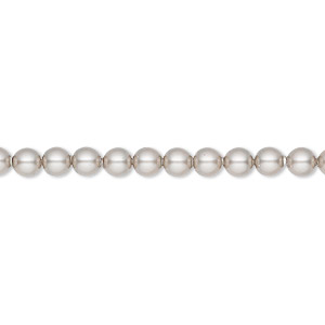 pearl, swarovski crystals, platinum, 4mm round (5810). sold per pkg of 500.