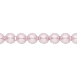 pearl, swarovski crystals, powder rose, 6mm round (5810). sold per pkg of 50.