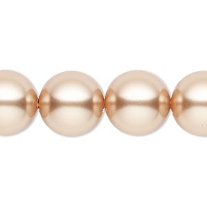 pearl, swarovski crystals, rose gold, 14mm round with 1.3-1.5mm hole (5811). sold per pkg of 10.