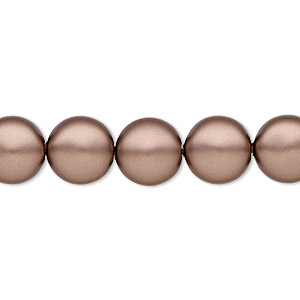 pearl, swarovski crystals, velvet brown, 10mm coin (5860). sold per pkg of 100.