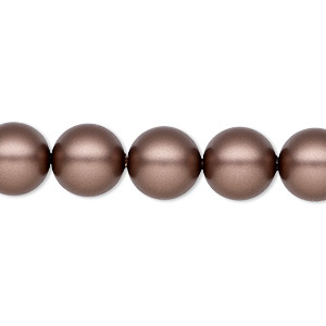 pearl, swarovski crystals, velvet brown, 10mm round (5810). sold per pkg of 100.