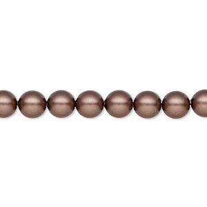 pearl, swarovski crystals, velvet brown, 6mm round (5810). sold per pkg of 500.