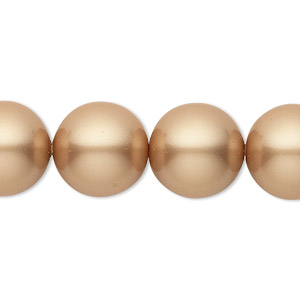 pearl, swarovski crystals, vintage gold, 14mm round with 1.3-1.5mm hole (5811). sold per pkg of 10.