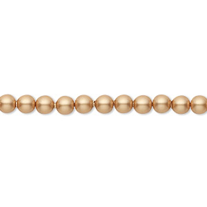 pearl, swarovski crystals, vintage gold, 4mm round (5810). sold per pkg of 100.