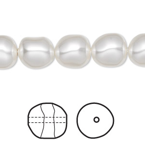 pearl, swarovski crystals, white, 10mm baroque (5840). sold per pkg of 100.