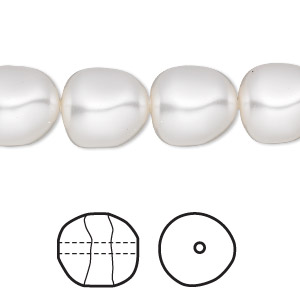 pearl, swarovski crystals, white, 12mm baroque (5840). sold per pkg of 100.