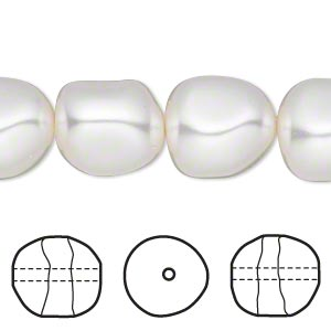 pearl, swarovski crystals, white, 14mm baroque (5840). sold per pkg of 50.