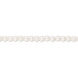 pearl, swarovski crystals, white, 3mm round (5810). sold per pkg of 1,000.