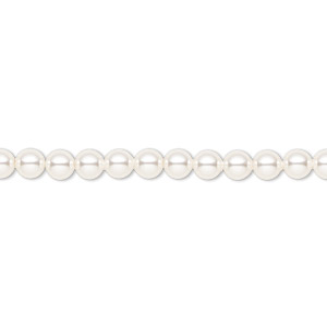 pearl, swarovski crystals, white, 4mm round (5810). sold per pkg of 100.