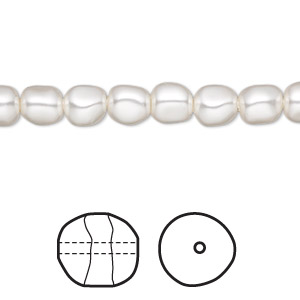 pearl, swarovski crystals, white, 6mm baroque (5840). sold per pkg of 10.