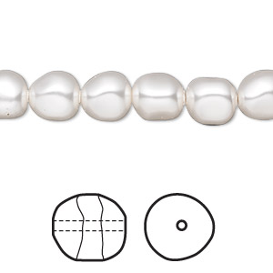 pearl, swarovski crystals, white, 8mm baroque (5840). sold per pkg of 250.