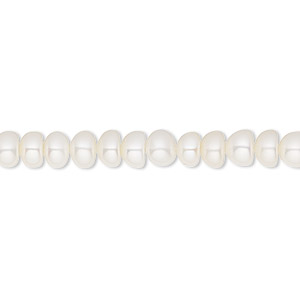 pearl, white lotus™, cultured freshwater (bleached), white, 5.5-6mm button, b grade, mohs hardness 2-1/2 to 4. sold per 16-inch strand.
