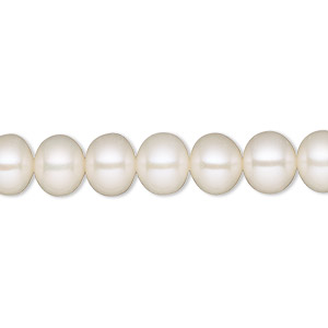 pearl, white lotus™, cultured freshwater (bleached), white, 7-8mm semi-round, c grade, mohs hardness 2-1/2 to 4. sold per 16-inch strand.
