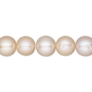 pearl, white lotus™, cultured freshwater, mauve and peach, 9-9.5mm semi-round with 0.5mm hole, b grade, mohs hardness 2-1/2 to 4. sold per 16-inch strand.