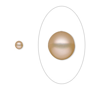 pearl, white lotus™, cultured freshwater, peach, 4mm half-drilled button, mohs hardness 2-1/2 to 4. sold per pkg of 20.