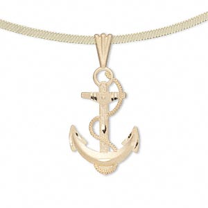 pendant, 14kt gold, 30x15mm single-sided diamond-cut satin anchor and rope. sold individually.