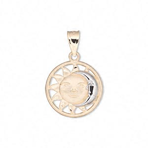 pendant, 14kt gold and rhodium-plated 14kt gold, 17mm single-sided round with sun and moon face. sold individually.