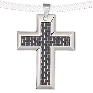 pendant, acrylic and stainless steel, black, 55x43mm single-sided cross with weave design. sold individually.