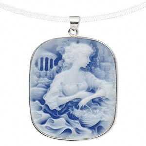 pendant, acrylic and sterling silver, blue and white, 41x35mm rectangle cameo with woman and basket. sold individually.