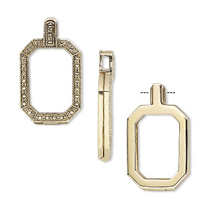 pendant, almost instant jewelry, antique gold-finished brass, 42x24mm single-sided hinged octagon with 27x18.5mm emerald-cut setting. sold individually.