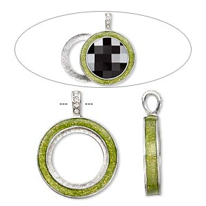 pendant, almost instant jewelry, epoxy / swarovski crystals / imitation rhodium-finished pewter (zinc-based alloy), peridot green and crystal clear with glitter, 45x35mm single-sided with 30mm round setting. sold individually.
