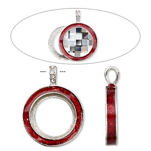 pendant, almost instant jewelry, epoxy / swarovski crystals / imitation rhodium-finished pewter (zinc-based alloy), light siam red and crystal clear with glitter, 45x35mm single-sided with 30mm round setting. sold individually.