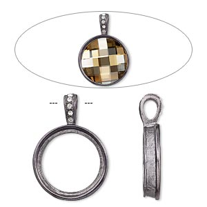 pendant, almost instant jewelry, swarovski crystals and gunmetal-finished pewter (zinc-based alloy), crystal clear, 33x24mm single-sided smooth round with 20mm round setting. sold individually.