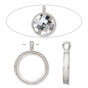 pendant, almost instant jewelry, swarovski crystals and imitation rhodium-plated pewter (zinc-based alloy), crystal clear, 46x36mm single-sided textured round with 30mm round setting. sold individually.