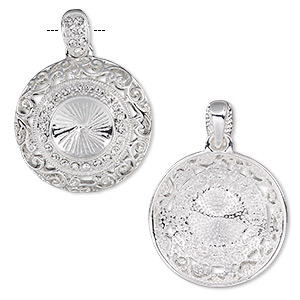 pendant, almost instant jewelry, swarovski crystals and silver-plated pewter (zinc-based alloy), crystal clear, 32mm round with swirl cutout design and 14mm rivoli setting. sold individually.