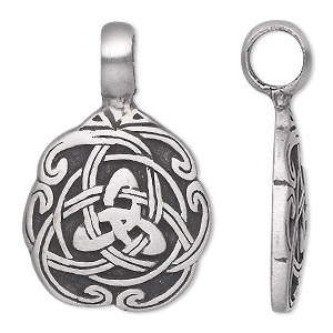 pendant, almost jewelry™, antiqued pewter (tin-based alloy), 39x25mm single-sided celtic knot. sold individually.