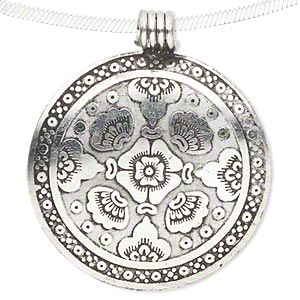 pendant, aluminum, 47mm single-sided flat round with flower design. sold individually.