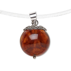 pendant, amber (assembled) and sterling silver, 17-18mm round. sold individually.