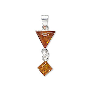 pendant, amber (heated) and sterling silver, 7x7mm diamond and 10x8mm triangle, 22x10mm overall. sold individually.