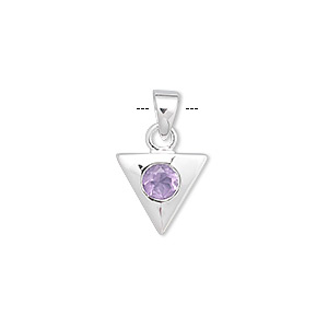 pendant, amethyst (natural) and sterling silver, 18x12mm triangle with 6mm faceted round. sold individually.