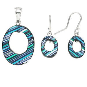 pendant and earring set, sterling silver and dichroic glass, multicolored turquoise, 42x23mm oval go-go pendant, 32x14mm oval go-go earrings. sold per set.
