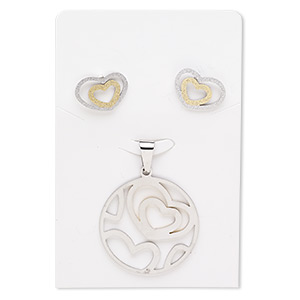 pendant and earring, stainless steel and gold-finished stainless steel, 33mm stardust round with heart cutout design, 17x12mm stardust heart with post. sold per set.
