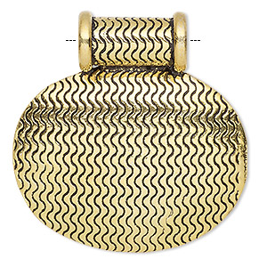 pendant, antique gold-plated copper, 39x38mm oval with textured wavy design and tube bail. sold individually.