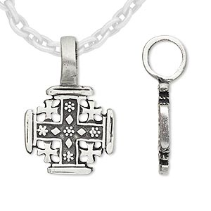 pendant, antique pewter (tin-based alloy), 29x19mm double-sided cross. sold individually.